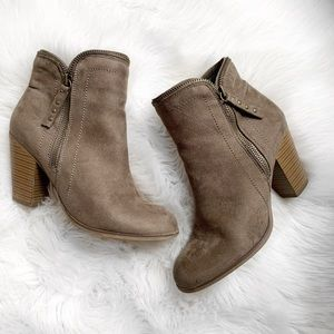 Dolce Faux Suede Zipper Heeled Ankle Boots